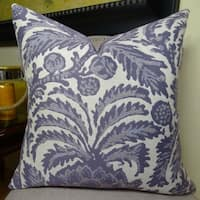 Thomas Collection Violet Cream Floral Throw Pillow, Handmade in USA, 11123S