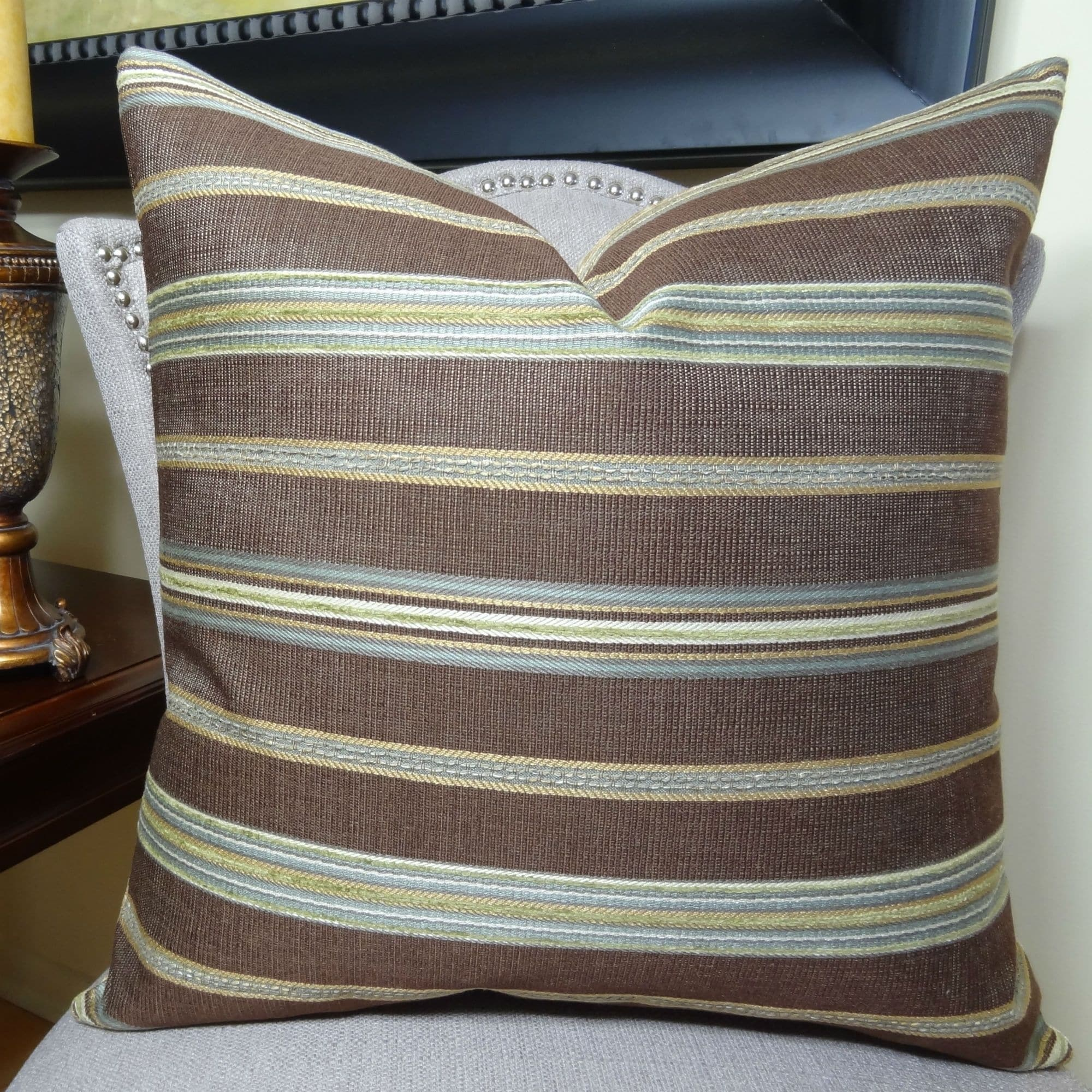 Thomas Collection Brown Striped Luxury Designer Throw Pillow For Sofa, Handmade in USA, 11283S (Medium - Square - 18 x 18)
