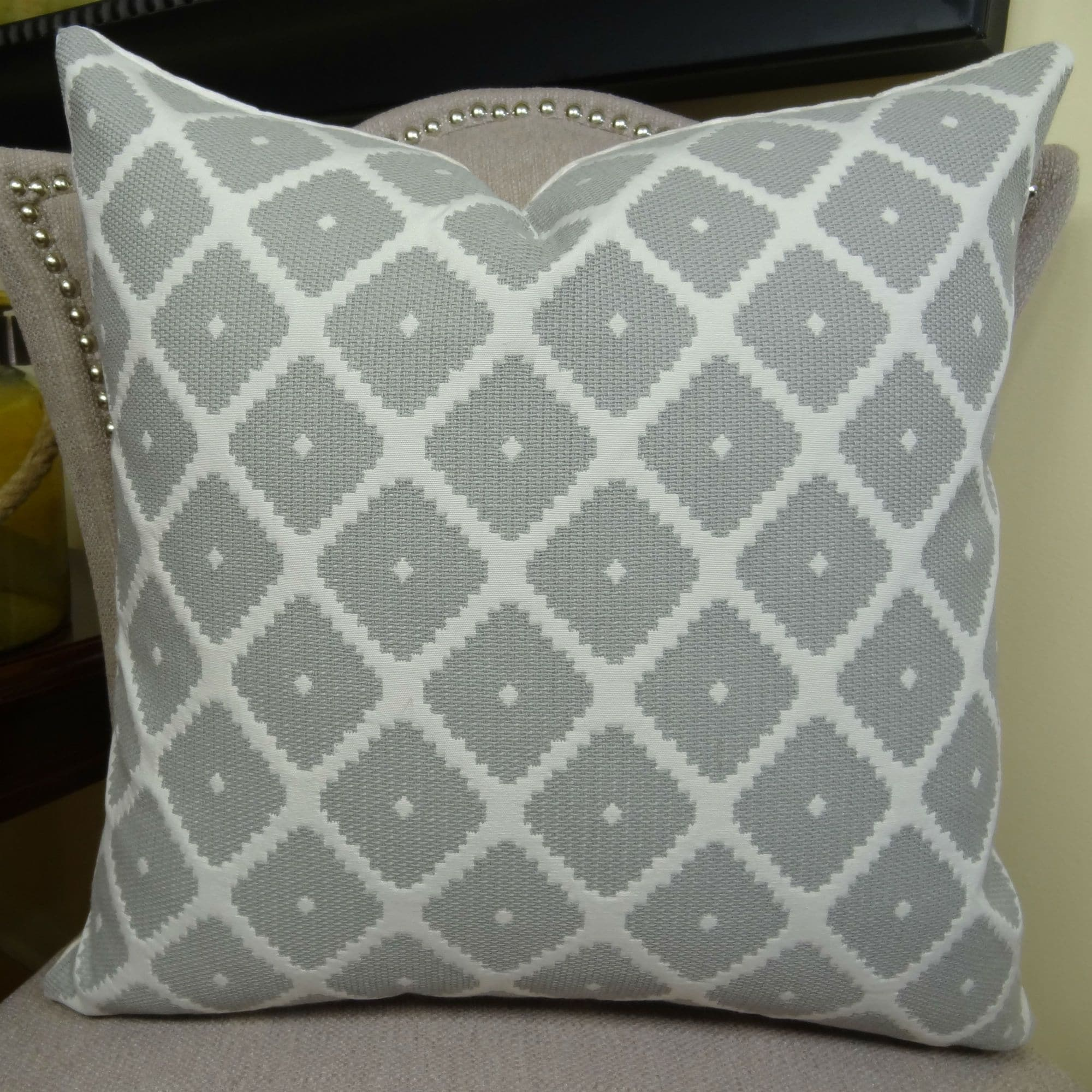 Thomas Collection Gray White Geometric Designer Throw Pillow, Handmade in USA, 11196D (Large - Square - double sided 22 x 22)
