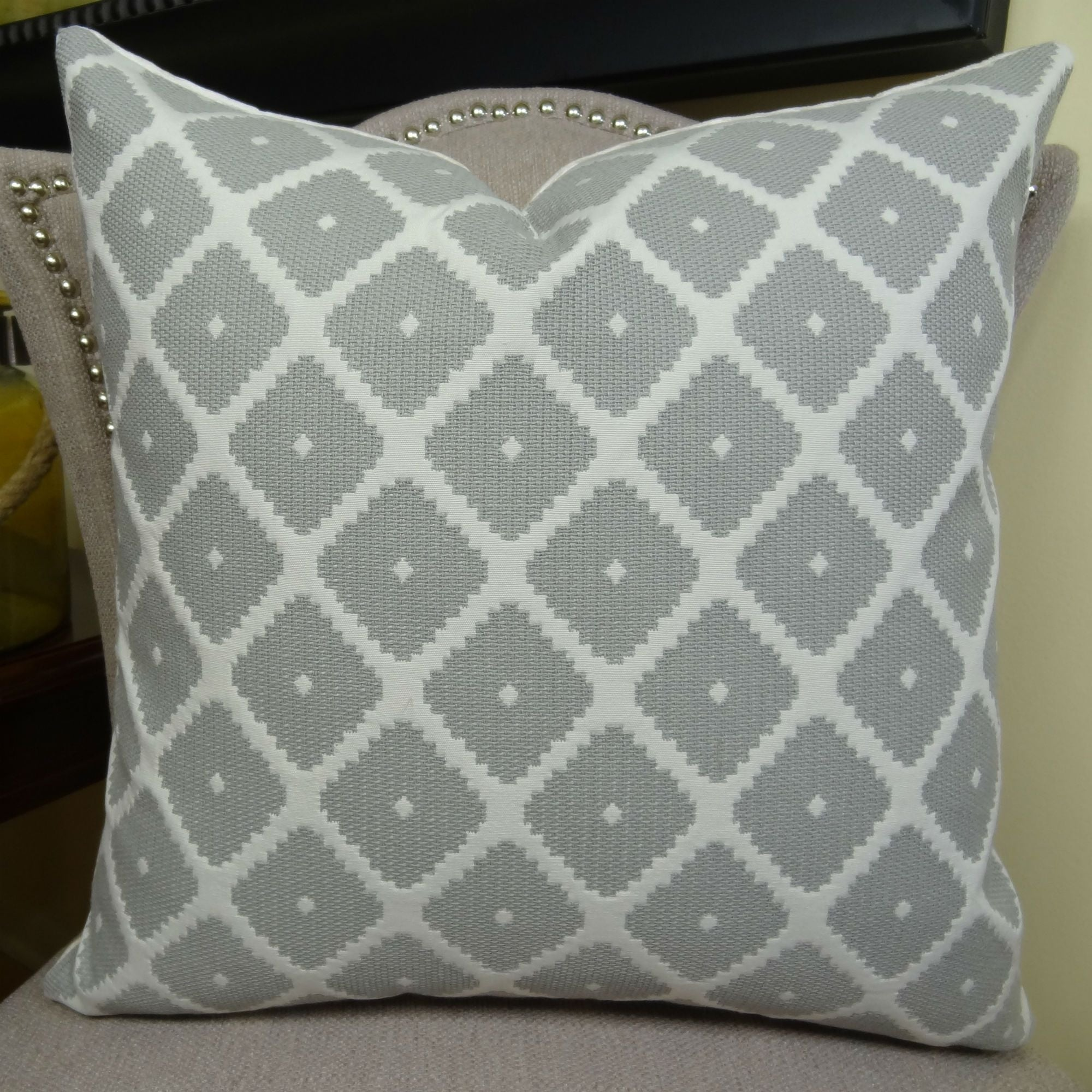 Thomas Collection Gray White Geometric Designer Throw Pillow, Handmade in USA, 11196D (Oversized - Square - double sided 26 x 26)