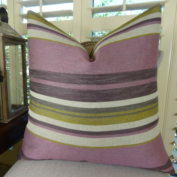 Thomas Collection Purple Lavender Olive Greige Striped Throw Pillow, Handmade in USA, 11268S