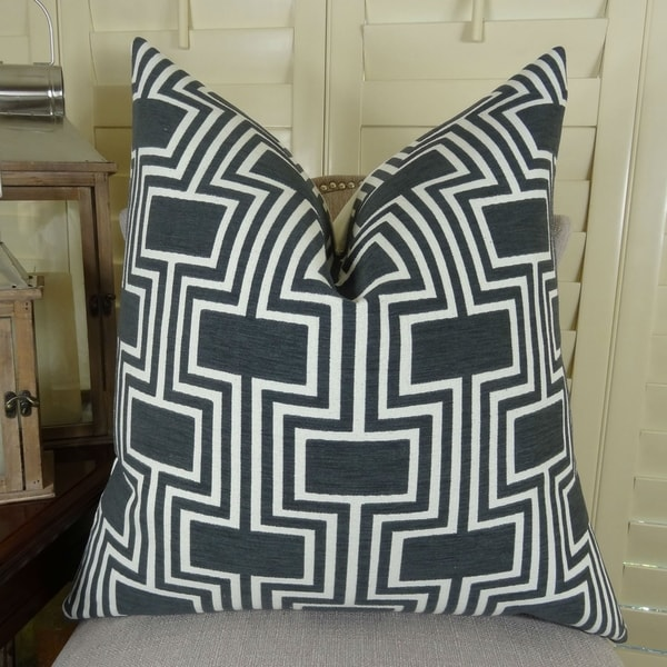 Thomas Collection Black White Geometric Trellis Luxury Throw Pillow, Handmade in USA, 11208D