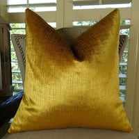 Thomas Collection Metallic Gold Velvet Luxury Designer Throw Pillow, Handmade in USA, 11249S