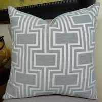 Thomas Collection Light Gray White Geometric Trellis Luxury Throw Pillow, Handmade in USA, 11206D