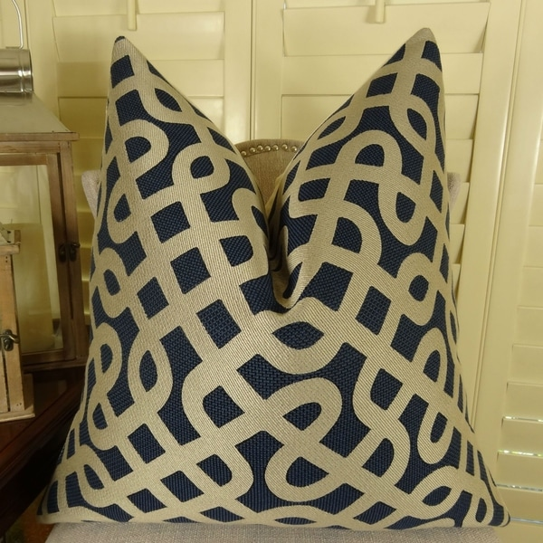 Shop Thomas Collection Navy Taupe Graphic Maze Luxury