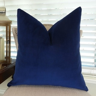 Thomas Collection Navy Velvet Double Sided Designer Luxury Throw Pillow, Handmade in USA, 11390D