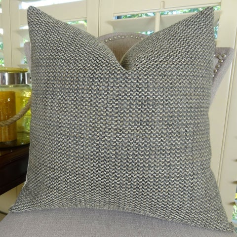 Thomas Collection Gray Green Weaved Designer Throw Pillow, Handmade in USA, 11254D