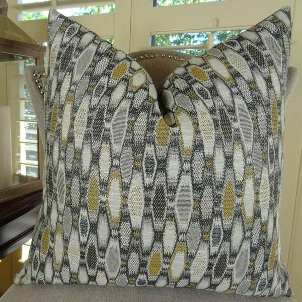 Thomas Collection Gray Black Taupe Cream Geometric Designer Throw Pillow, Handmade in USA, 11292D