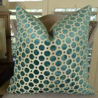 Thomas Collection Turquoise Taupe Velvet Geometric Luxury Throw Pillow, Handmade in USA, 11364S