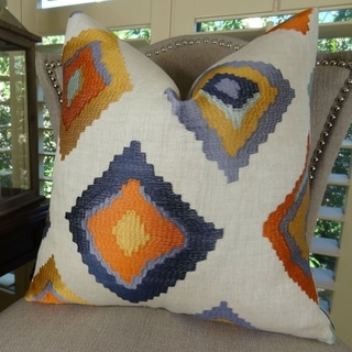 Thomas Collection Purple Lavender Orange White Embroidered Luxury Pillow, Handmade in USA, 11360S
