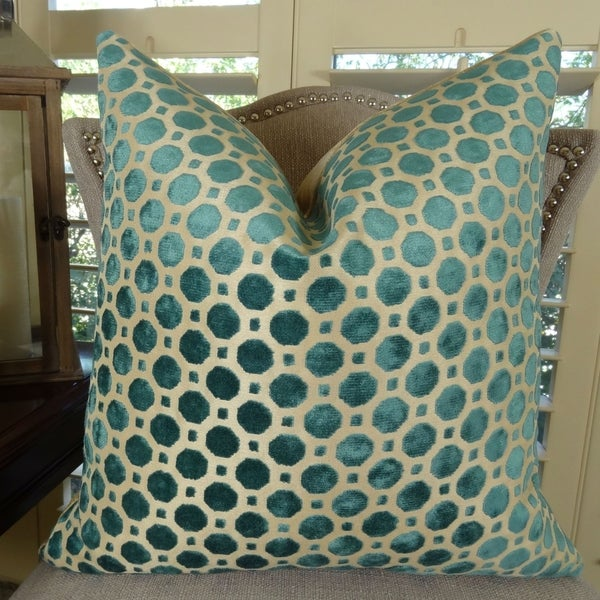 Thomas Collection Turquoise Taupe Velvet Geometric Luxury Throw Pillow, Handmade in USA, 11364D