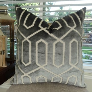 Thomas Collection Geometric Gray Taupe High End Velvet Luxury Pillow, Handmade in USA, 11411S
