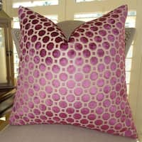Thomas Collection Magenta Taupe Velvet Geometric Luxury Sofa Pillow, Handmade in USA, 11367S