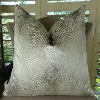 Thomas Collection Silver Metallic Larry Laslo Luxury Throw  Pillow, Handmade in USA, 11370S