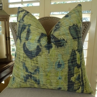 Thomas Collection Green Navy IKAT Luxury Throw Pillow, Handmade in USA, 11368D