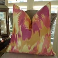 Thomas Collection Magenta IKAT Designer Decorative Throw Pillow, Handmade in USA, 11365D