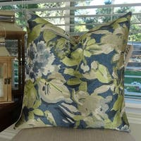 Thomas Collection Floral Blue Gray Citrine Taupe Luxury Throw Pillow, Handmade in USA, 11413S