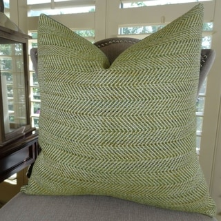 Thomas Collection Light Green Ivory Zig Zag Designer Couch Pillow, Handmade in USA, 11356D