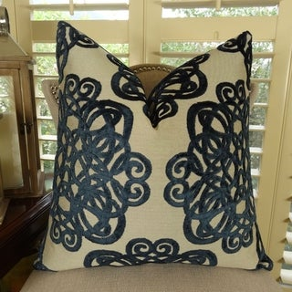 Thomas Collection Navy Taupe Luxury Velvet Scroll Throw Pillow, Handmade in USA, 11212D