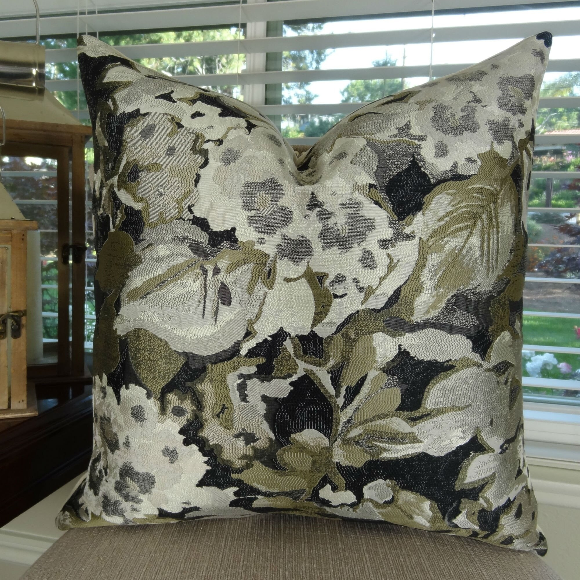 Thomas Collection Floral Gray Black Taupe Designer Floral Throw Pillow, Handmade in USA, 11420D (Oversized - Square - double sided 26 x 26)
