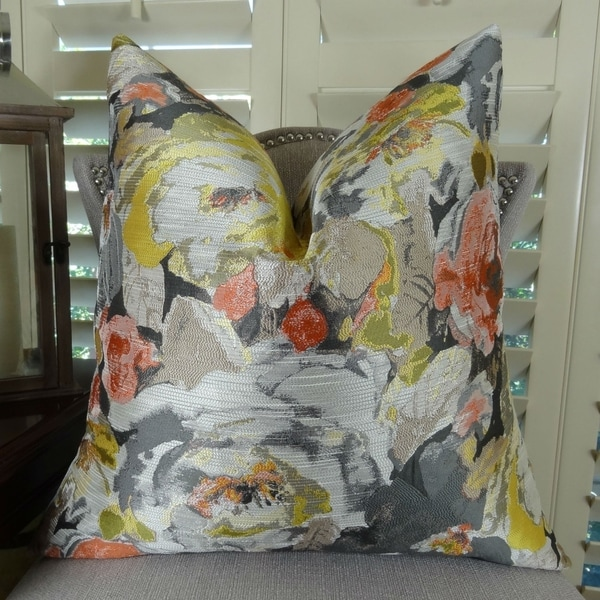 Thomas Collection Floral Grey Yellow Greige Coral Luxury Throw Pillow, Handmade in USA, 11382S