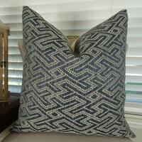 Thomas Collection Dark Blue Taupe Graphic Maze Luxury Couch Pillow, Handmade in USA, 11385S