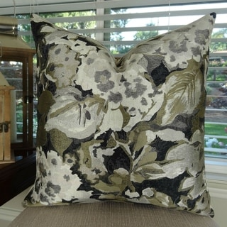 Thomas Collection Floral Gray Black Taupe Designer Floral Throw Pillow, Handmade in USA, 11420S