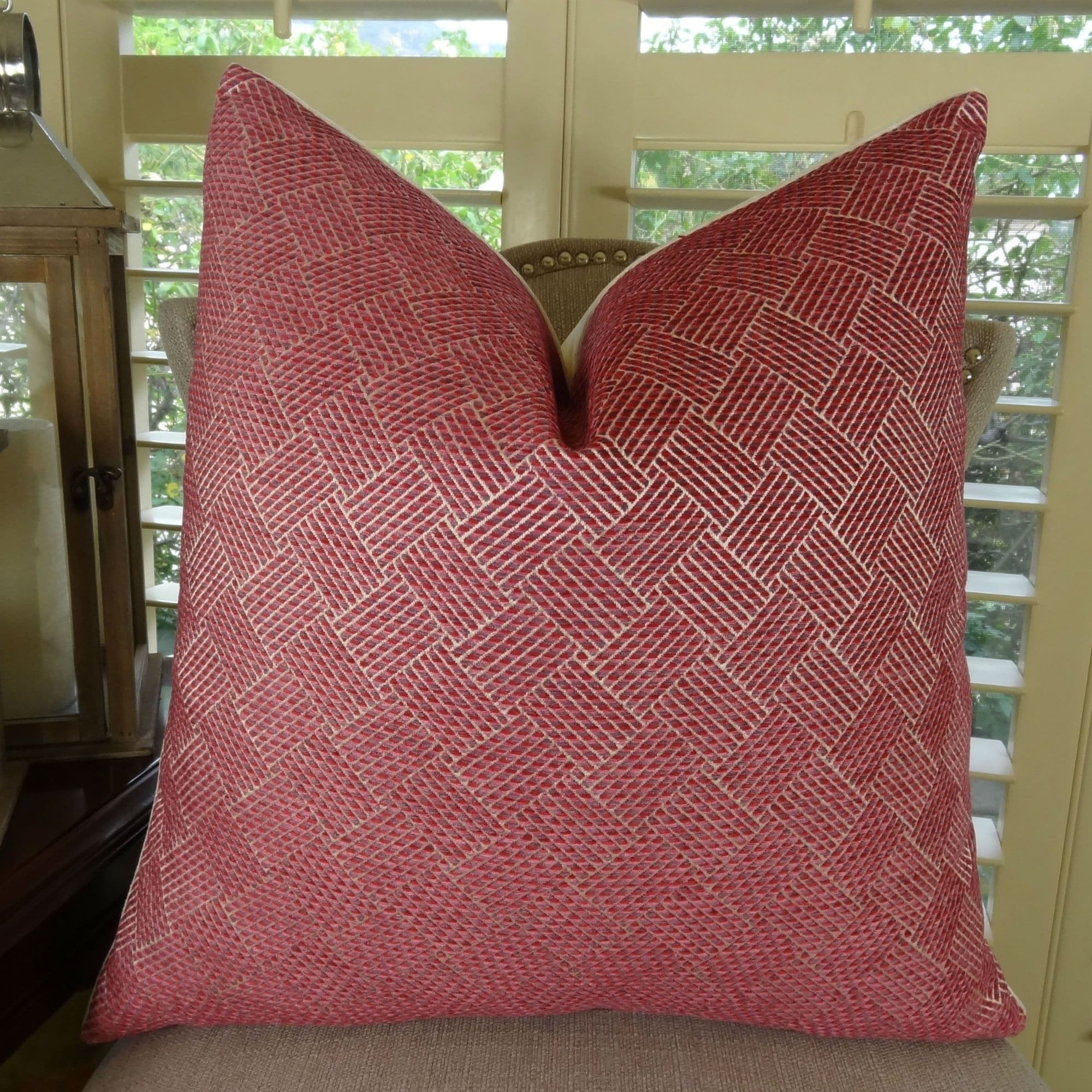 Thomas Collection Fuchsia Cream Velvet Jaggared Accent Pillow, Handmade in USA, 11274D (Large - Square - double sided 22 x 22)
