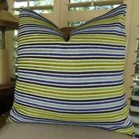 Thomas Collection Navy Aqua Green Cream Luxury Striped Throw Pillow, Handmade in USA, 11317S