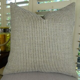 Thomas Collection Taupe Dark Gray Weaved Designer Throw Pillow, Handmade in USA, 11255S