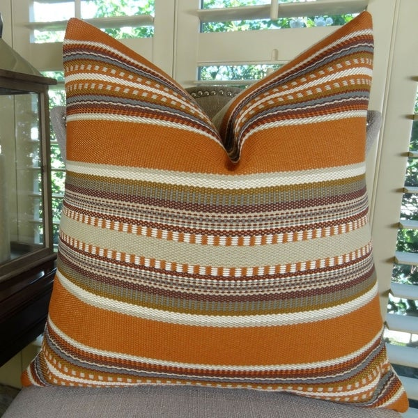 Thomas Collection Saffron Olive Cream Tribal Throw Pillow For Sofa, Handmade in USA, 11314S