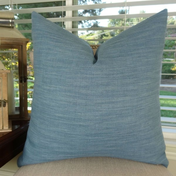 Thomas Collection Blue Linen Double Sided Luxury Throw Pillow, Handmade in USA, 11433D