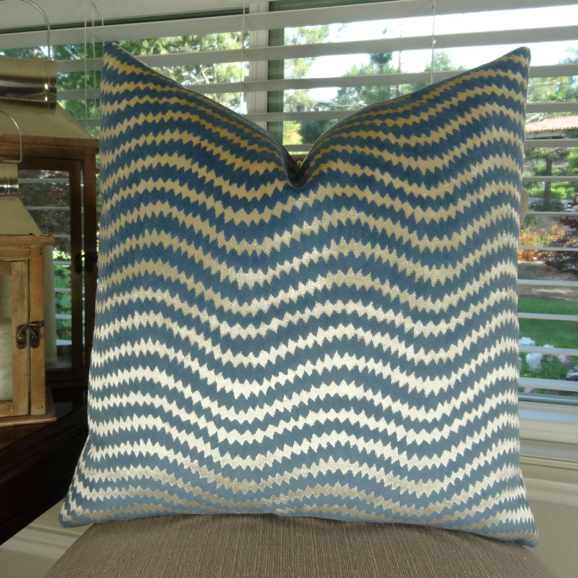 Thomas Collection Teal Cream Designer Luxury Velvet Chevron Throw Pillow, Handmade in USA, 11410D (Medium - Square - double sided 16 x 16)