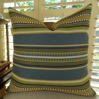 Thomas Collection Indigo Olive Blue Taupe Luxury Striped Throw Pillow, Handmade in USA, 11312D