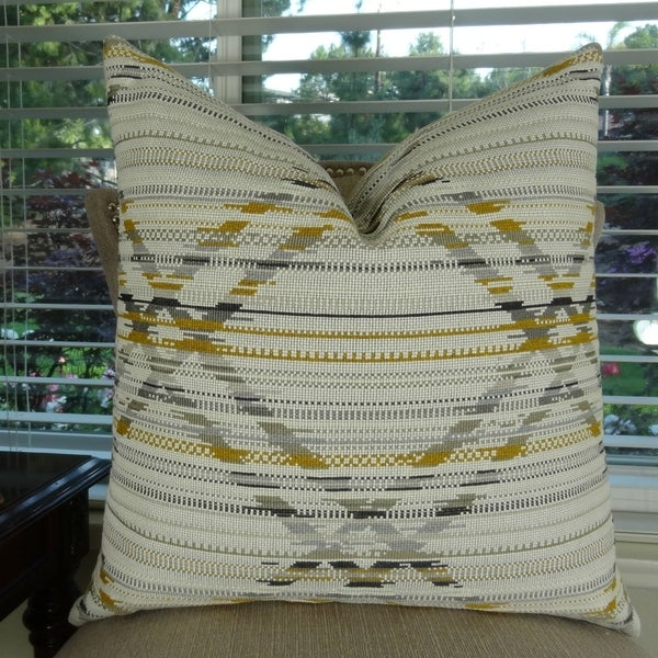 Thomas Collection Gray Ivory Taupe Aztec Pattern Throw Pillow, Handmade in USA, 11412S