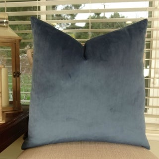 Thomas Collection Solid Dark Blue Luxury Throw Pillow, Handmade in USA, 15003D