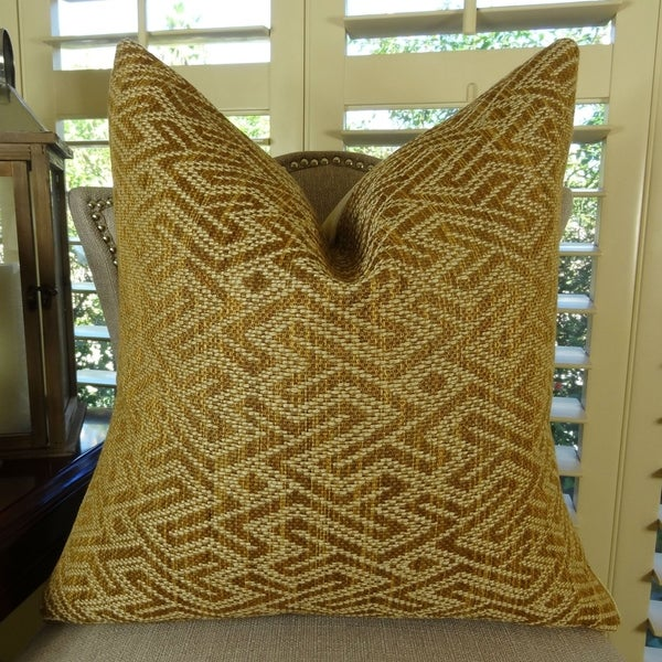 Thomas Collection Taupe Copper Maze Luxury Designer Throw Pillow, Handmade in USA, 11359S