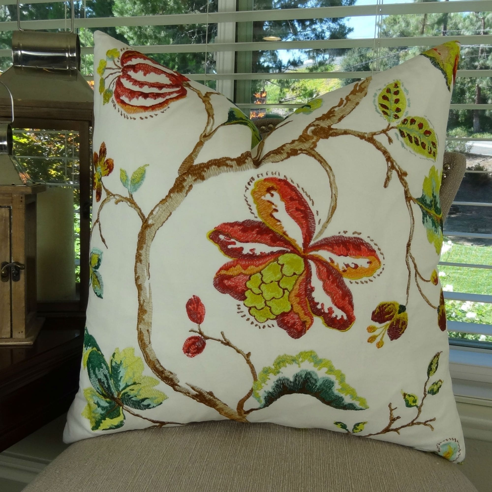 Thomas Collection Floral White Coral Red Green Embroidered Throw Pillow, Handmade in USA, 11431S (Oversized - Square - 26 x 26)