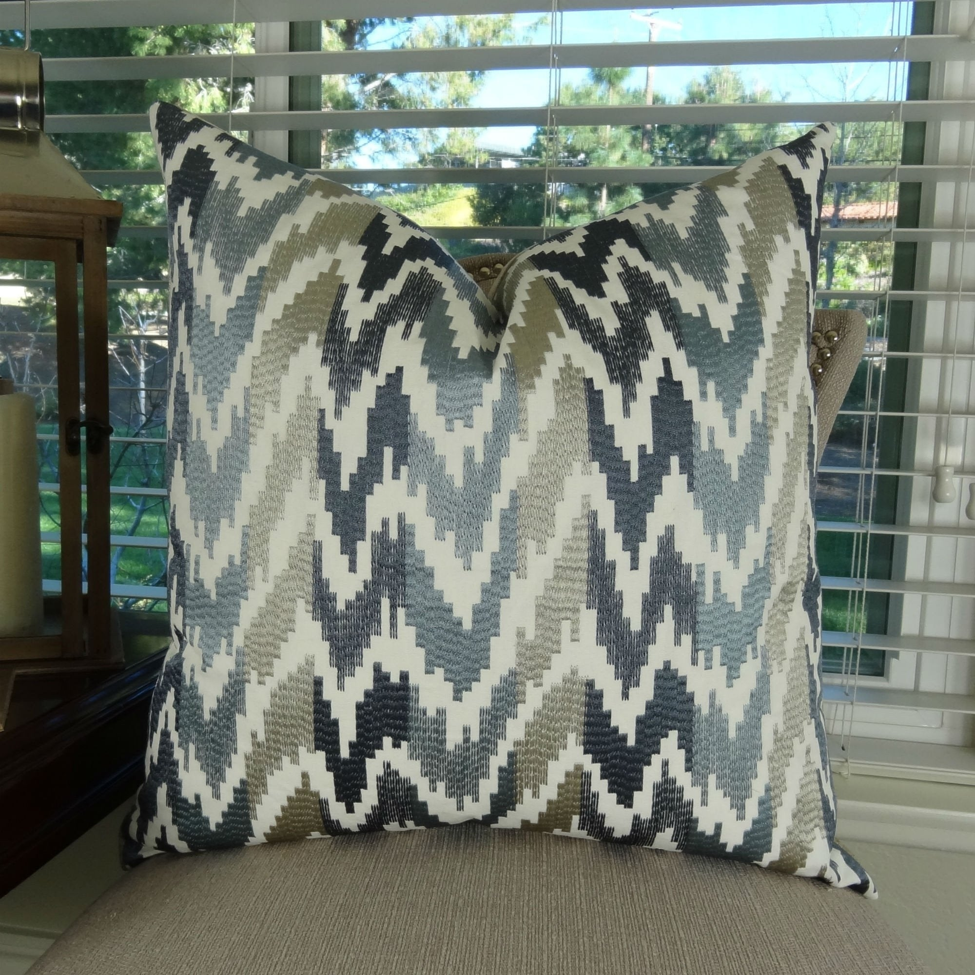 Thomas Collection Blue Taupe Ivory Luxury Embroidered Wave Throw Pillow, Handmade in USA, 11407S (Oversized - Square - 26 x 26)