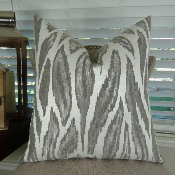 Thomas Collection Metallic Silver Gray Ivory Glacier Luxury Throw Pillow, Handmade in USA, 11396D