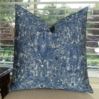 Thomas Collection Graphic Blue Taupe Double Sided Luxury Throw Pillow, Handmade in USA, 11414D