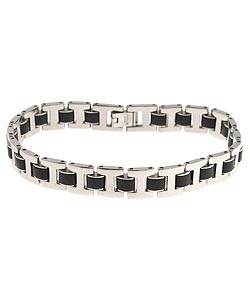 Stainless Steel and Rubber Men's Link Bracelet