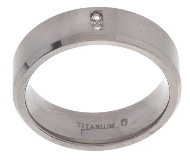 Titanium 7 mm 1/10ct TDW Round Diamond Band
