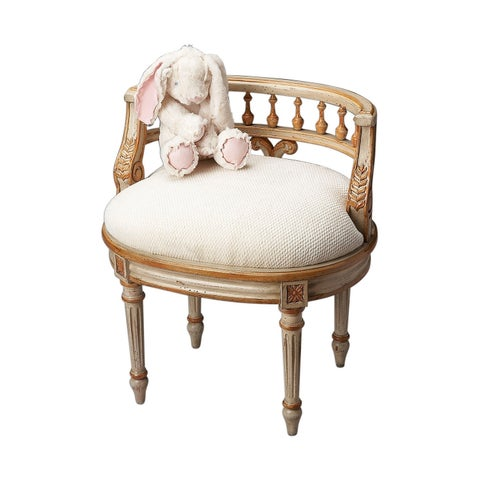Offex Traditional Oval Vanity Seat Cream and Gold - Beige