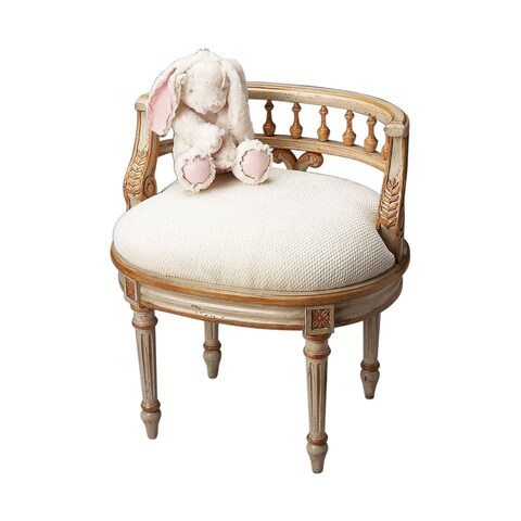 Butler Traditional Oval Vanity Seat Cream and Gold - Beige