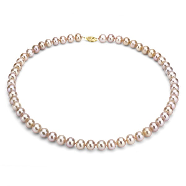 DaVonna 14k 10-11mm Pink Freshwater Cultured Pearl Strand Necklace  (16-36 inches)