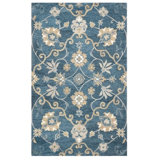"Rizzy Home Leone Hand-Tufted 6'6"" x 9'6"" Rectangle Rug, Blue"