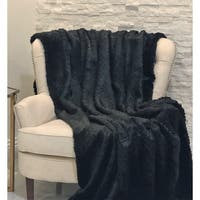 Plutus Black Mink Faux Fur Luxury Throw
