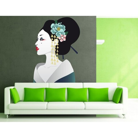 """Geisha Portrait Full Color Wall Decal Sticker K-359 FRST Size 40""""x63"""""""