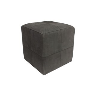 "Decor Maisonette Distressed Leather Pouf Lincoln, Black (18""x18""x18"")"